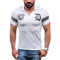 Turn Down Collar Printed T Shirt Men Short Sleeve Button Up Fitness Brand Clothing 2017 Star
