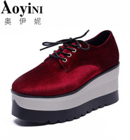 2018 Autumn Flock Creepers Platform Casual Shoes Woman Lace Up Oxfords Spring Flats Fashion Solid Women Shoes