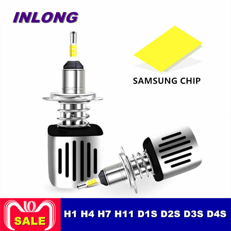 Inlong  H4 H7 9005 9006 Car LED Headlight Bulb H11 H9  D2S D1S HB4 D3S H1 D4S SAMSUNG CSP  60W 11200LM Headlamp Fog Lights 6500K