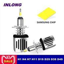 Inlong H4 H7 9005 9006 автомобилей Светодиодный лампа фары H11 H9 D2S D1S HB4 D3S H1 D4S SAMSUNG CSP 60 Вт 11200LM фары противотуманные фонари 6500 K
