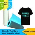 """PU Heat Transfer Vinyl Material T-Shirt Glow In The Dark Blue /Green20"""" x 39.37"""" /0.5x1m"""