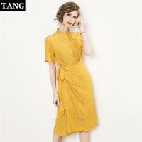 2019 летние женские с круглым вырезом укороченные рукава желтый горошек Хлопок Женское Платье с запахом рабочая одежда офисные платья