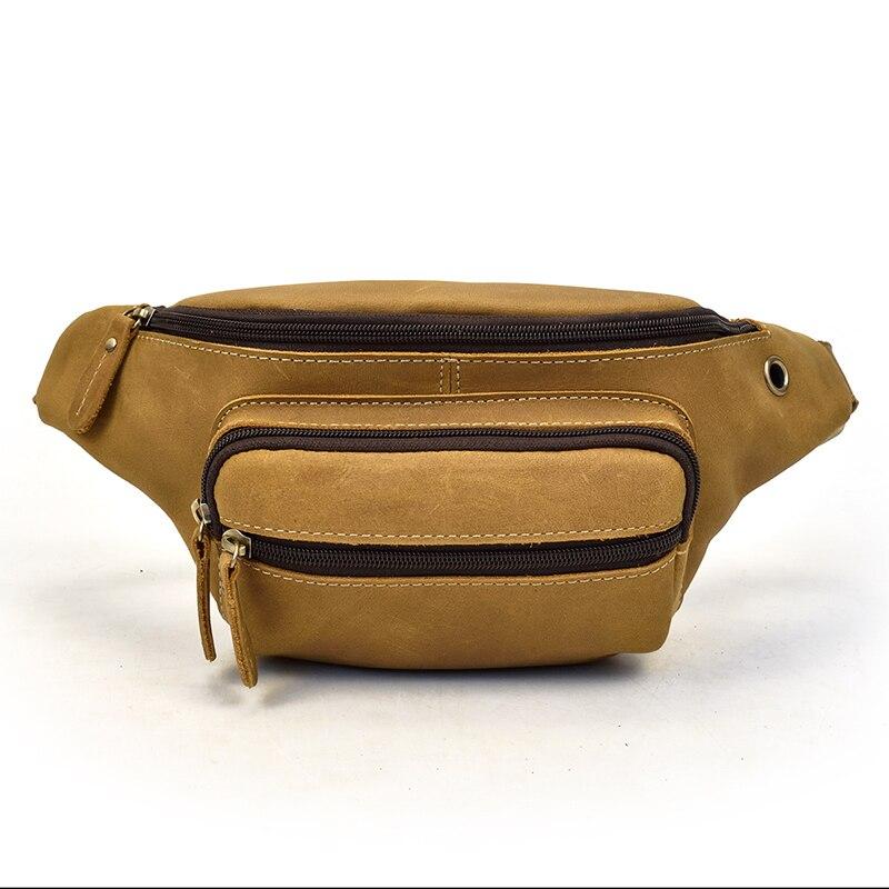MAHEU Mini Outdoor Sport Travel Chest Bag Men's Genuine Leather Waist Pack Belt Bag Multifunction Mans Crossbody Chest Pack