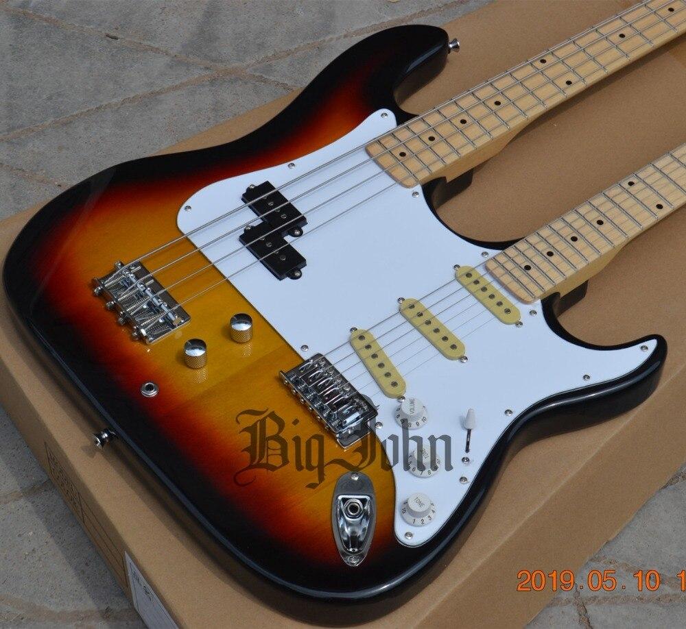 Nouvelle guitare électrique Double cou Sunburst, 4 cordes basse et 6 cordes guitare BJ-180