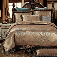 Coffee Stain Jacquard Luxury Bedding sets Queen/King size Bed set With Lace Bed cover set Cotton Bed sheet set Duvet cover cama