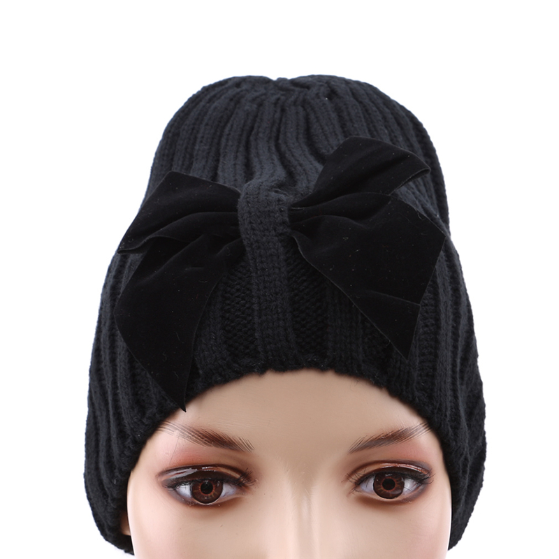 Knit Beanie Hat For Children Winter Warm Bowknot Ski Hat Bows Gift Skullies Caps Bonnet Gorros New Knitted Beanies Cap Bigsweety