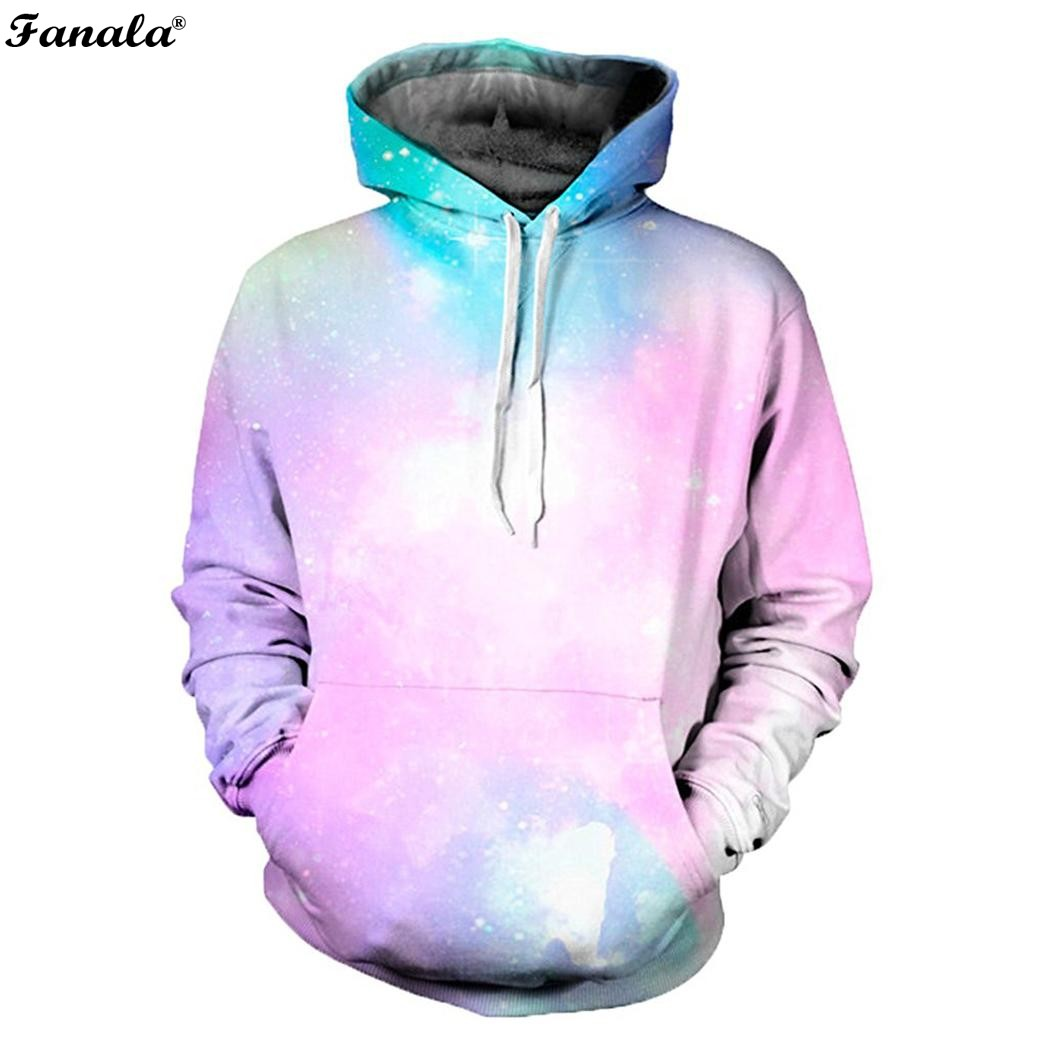 FANALA Space 3d Print Sweatshirts Men/Women Hoodies With Hat Print Stars Nebula Autumn Winter Loose Thin Hooded Hoody Tops 2017