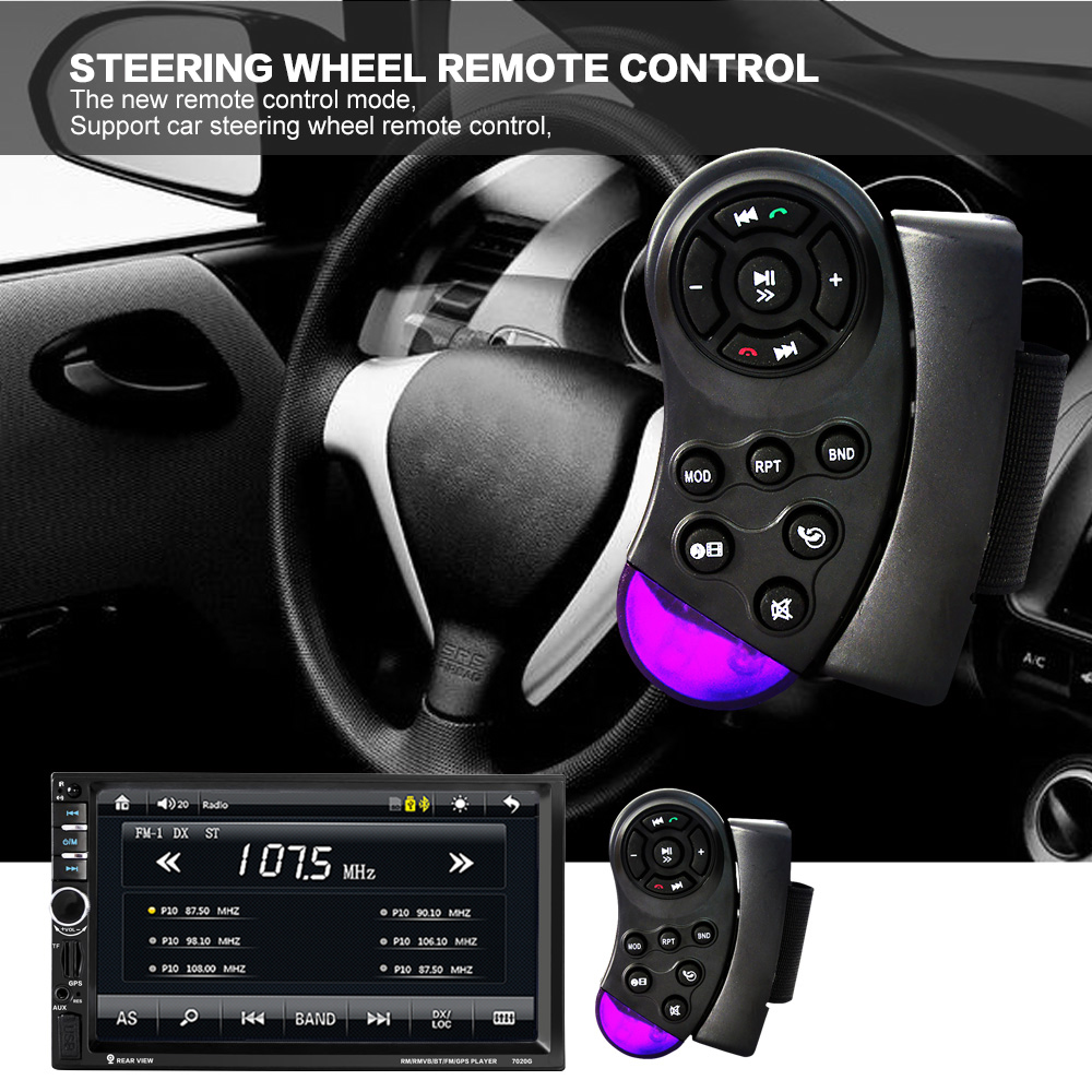 7'' 2 Din Bluetooth Auto Multimedia Car Stereo MP5 Player GPS Navigation Support Mirror Link with Camera &Steering Wheel Control