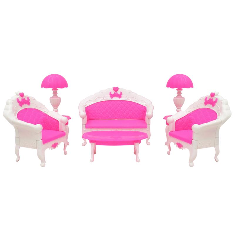 6pcs Lovely Dollhouse Toys Mini Doll European Style Furniture Living Room Set Table and Chair Kids Girls Gift for Party