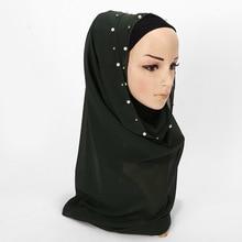 Fashion solid color chiffon nailed pearl bufanda mujer head scarf Muslim woman hijab scares women 2019