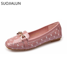 SUOJIALUN Women Shoes New Arrival Patent Leather Flat Ballet Flats Spring Autumn Casual Plus Size 35-41