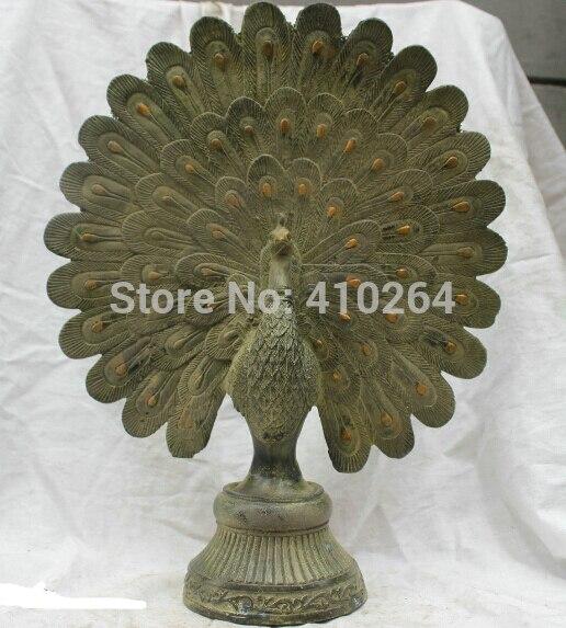 Chinese Tibet Tibetan Buddhism Temple Bronze statue Green Peacock Sculpture