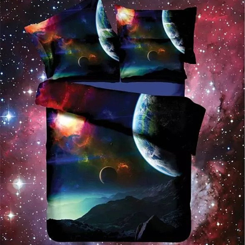 Hot 3d Galaxy Bedding Sets Twin Queen Size Universe Outer