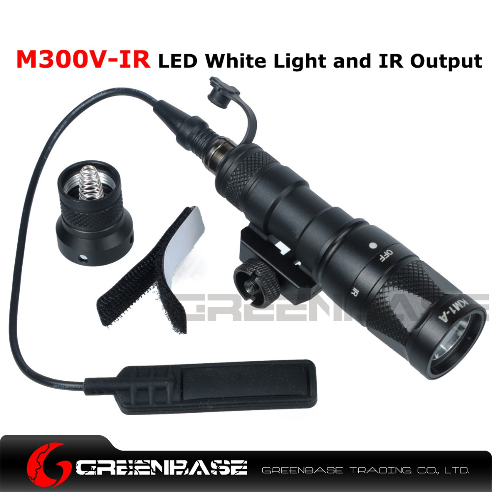 Greenbase SF Tactical M300V-IR Scout Light WeaponLight White And LED IR Flashlight Constant Momentary Output 20mm Rail greenbase tactical sf m951 scout light weapon light constant