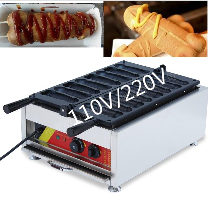 все цены на 2018 Commercial Use 8pcs Electric Hot dog Sausage Penis Waffle Maker Iron Machine Baker онлайн