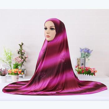 Islamic Women Clothing One-piece Instant HIJAB Extensions Neck Chest Turban Diamonds Flower Embossed Pattern Hijab Caps 8pcs/lot