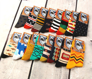 Image 3 - 12pairs/lot Colorful Casual Mens Happy Socks High Quality Combed Cotton Men Socks Cartoon Designs Funny Crew compression socks