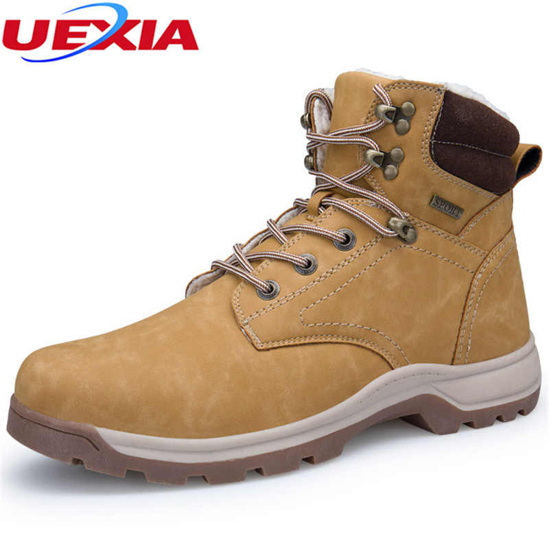 UEXIA Boots Men Shoes High Tops Winter Footwear Outdoor Warm Furry Work Snow Ankle Boots Men Botas Hombre Rubber Chaussure Homme
