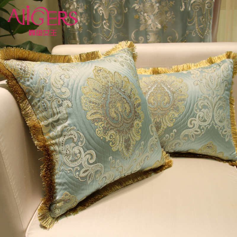 Avigers Luxury Double Jacquard Big Cushion Cover Tassel <font><b>Pillowcase</b></font> Flower Home Decorative Sofa Seat Bed Throw Pillow Cover <font><b>50x50</b></font> image