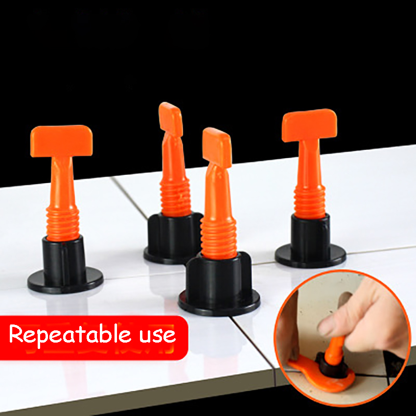 1 Set T-shape Tile Leveler Reusable Equalizer Tiling Positioning Assistant Tools Floor Adjustable Alignment Locator With Wrench