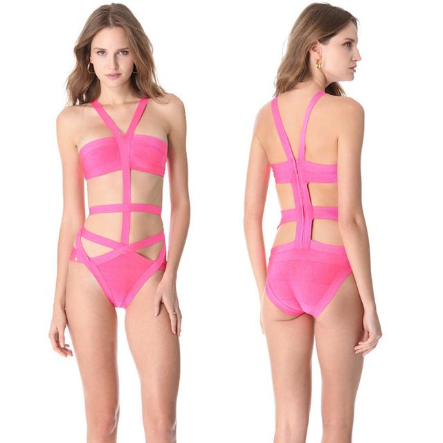 Vendaje Swimswear 2016 Sexy Body Mujeres Rosa Recortable Jumpsuit Romper Línea Delgada Con Encanto Trajes de Baño Vendaje Del Traje de Baño