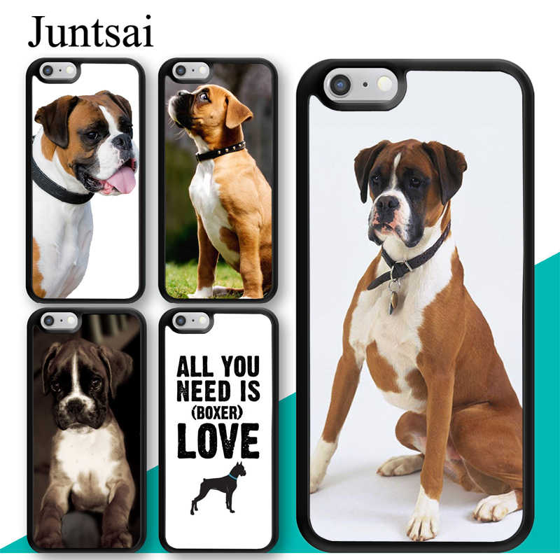 Juntsai Cute Boxer Dog Puppy TPU Mobile Phone Case For Apple iPhone X XR XS MAX 6S 6 7 8 Plus 5 5S Cover Rubber Coque Shell