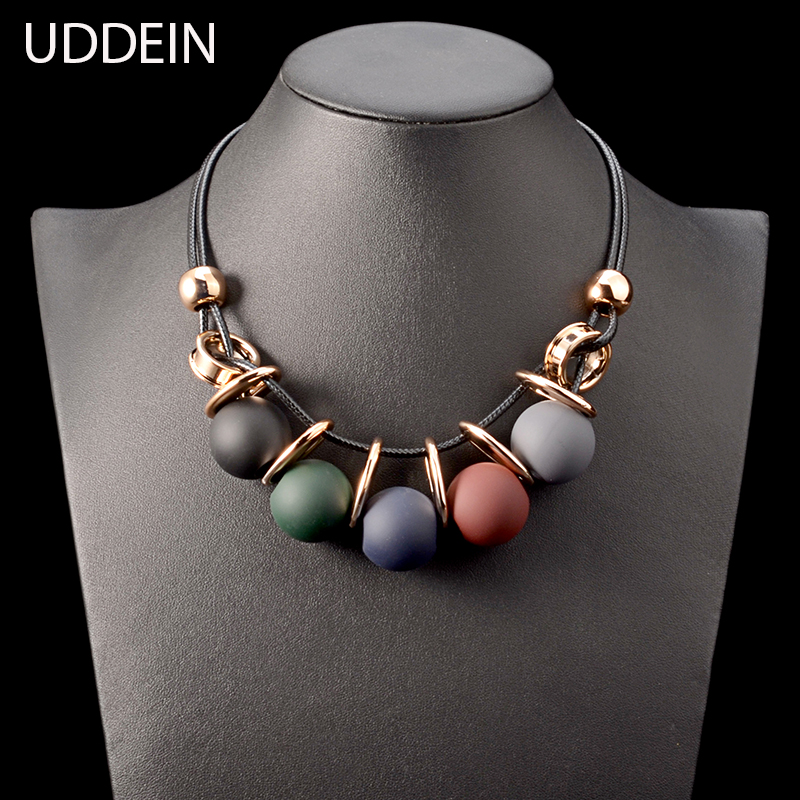 цена на UDDEIN Black leather chain plastic gem statement choker necklace & pendant party jewelry gift collier vintage maxi necklace