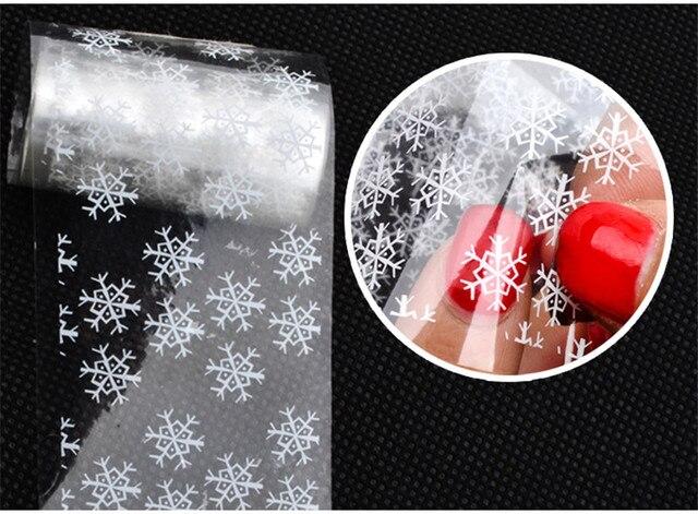 Fiocchi Di Neve Di Carta Fai Da Te : 1 pz bella bianco fiocco di neve nail trasferisca stagnola