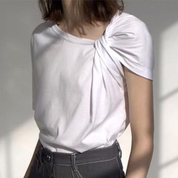 Short Sleeve Irregular Women's TShirt Bowtie Twisted Skew Collar Black White T-Shirt Woman 2020 Summer Casual Solid Tops Female