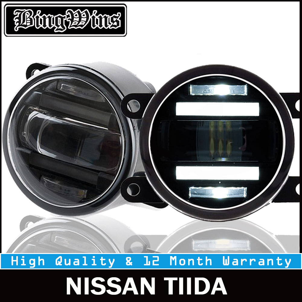 BEINGWINS 2009-2018 For Nissan Tiida foglights+LED DRL+turnsignal lights Car Styling LED Daytime Running Lights LED fog lamps ветровики prestige nissan tiida hb 04