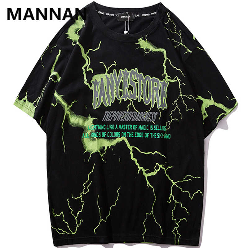 MANNAN 2019 T Shirt Mens Hip Hop Dark Lightning Tshirt Streetwear Summer Cotton Harajuku T-Shirts Short Sleeve Casual Tops Tees
