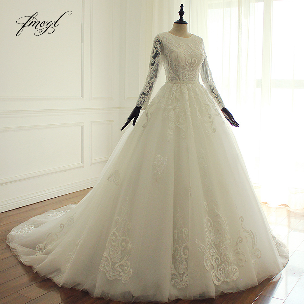 Fmogl Robe De Mariee Long Sleeve Boho Wedding Dresses 2019 Sexy Illusion Appliques Beaded Vintage Bridal