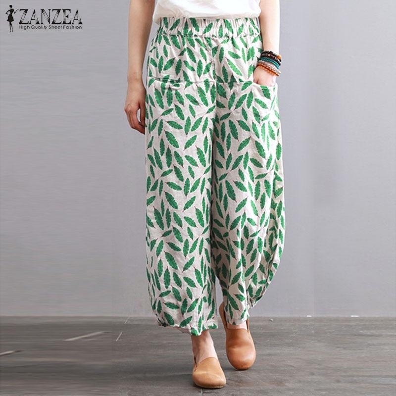 ZANZEA Women Elastic Waist Pockets Loose Lantern   Pants     Wide     Leg     Pants   Casual Autumn Floral Printed Cotton Trousers Pantalon