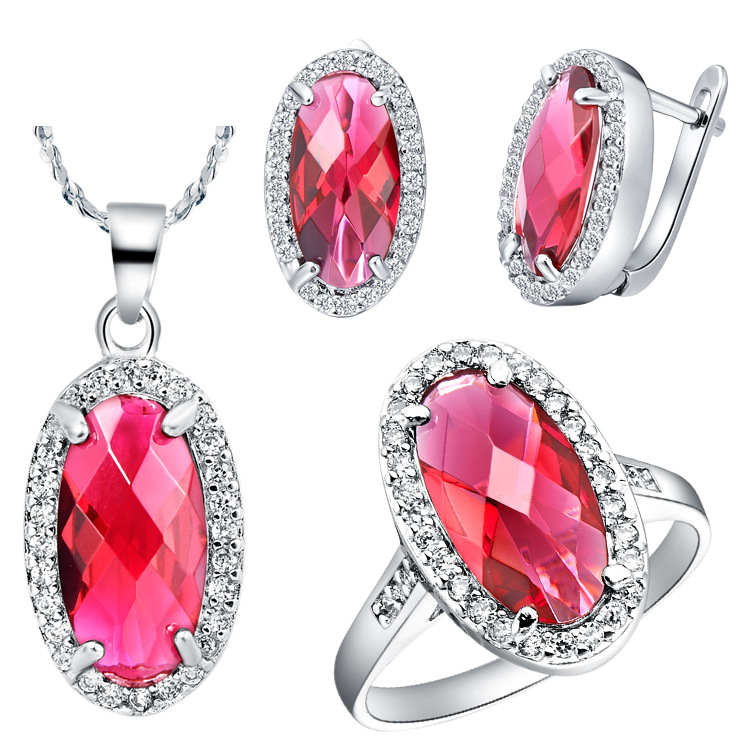NEW suit 925 sterling silver set foreign trade super set red spot brinco choker Pendant necklace Earrings ring in Bridal Jewelry Sets from Jewelry Accessories