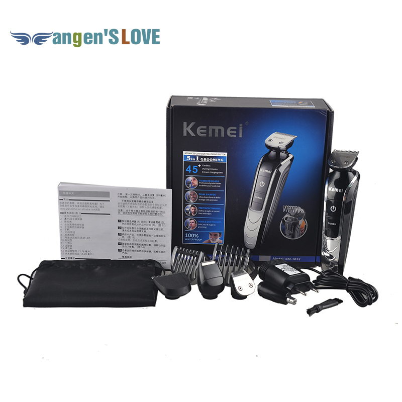 KEMEI KM-1832 Professional Electric Hair Clipper Trimmer Titanium Blade Hairclipper Cutting Machine Shearer With Limit Combs 100 240v extra battery lcd tungsten steel blade hair trimmer electric hair clipper cutting machine shearer trimmers c 28