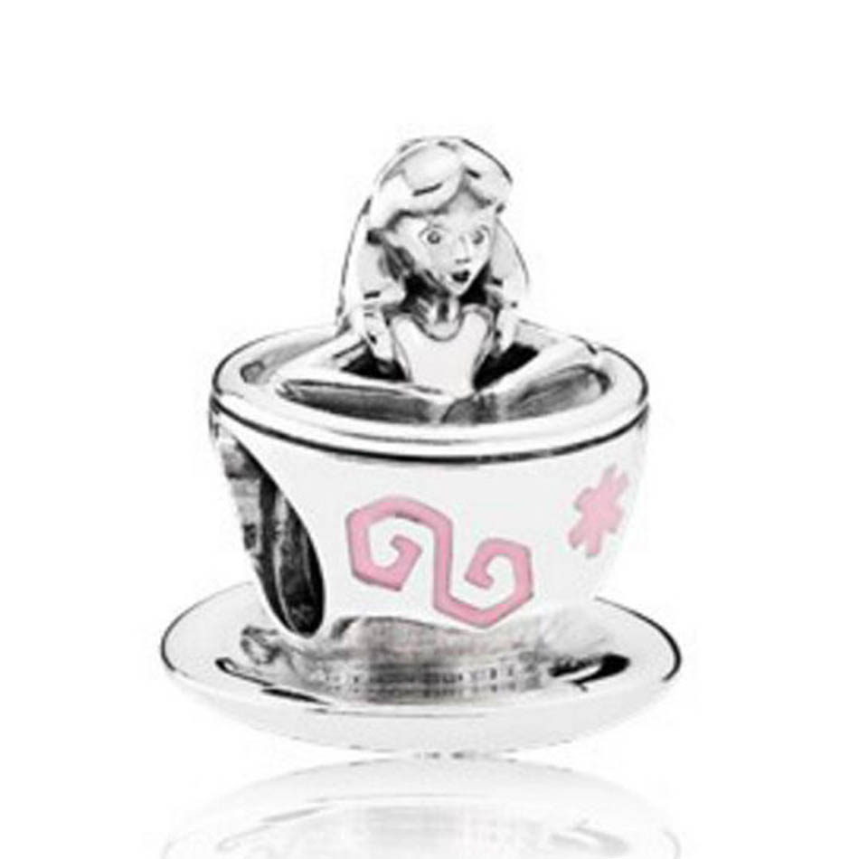 Authentic 925 Sterling Silver Bead Pink & White Enamel Alice In Wonderland Tea Cup Charms fit Pandora Bracelet BangleAuthentic 925 Sterling Silver Bead Pink & White Enamel Alice In Wonderland Tea Cup Charms fit Pandora Bracelet Bangle