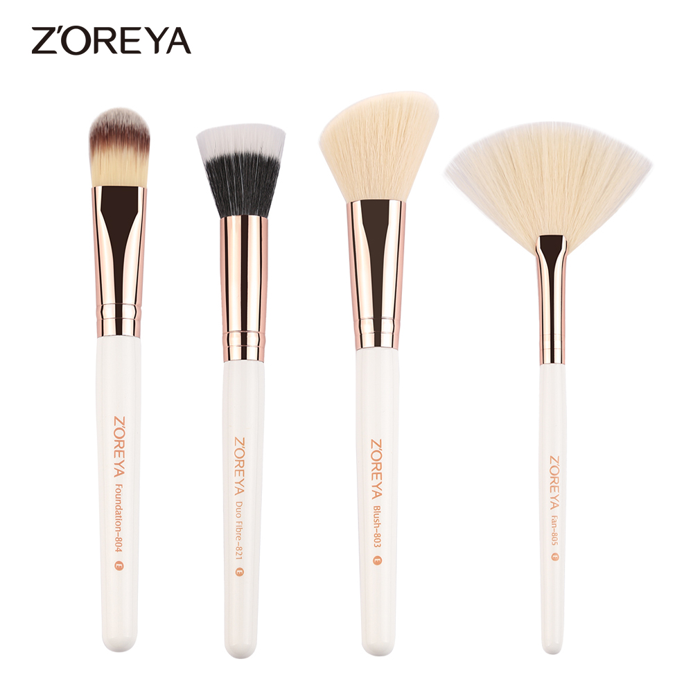 Zoreya Brand 4pieces/set wooden  handle foundation make up brushes Blush brush for women cosmetics brushes set tool