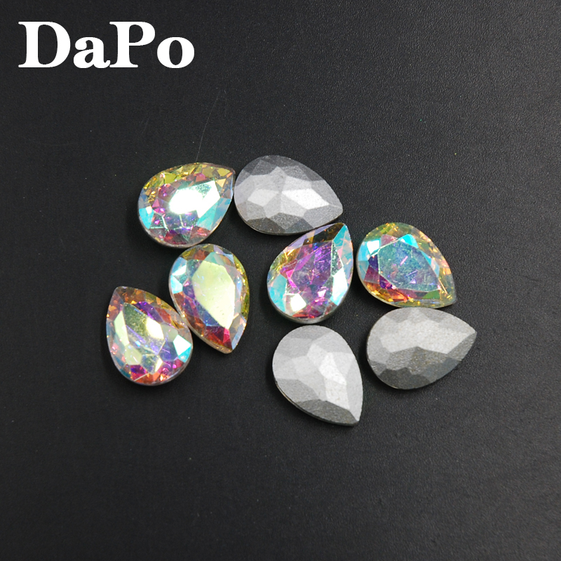 Crystal AB Color Droplet Shape Teardrop Pointed Back Glass Crystal Fancy  Stone 4x6mm 6x8mm 10x14mm 13x18mm 18x25mm 20x30mm-in Rhinestones from Home    Garden ... 089e48806d3e