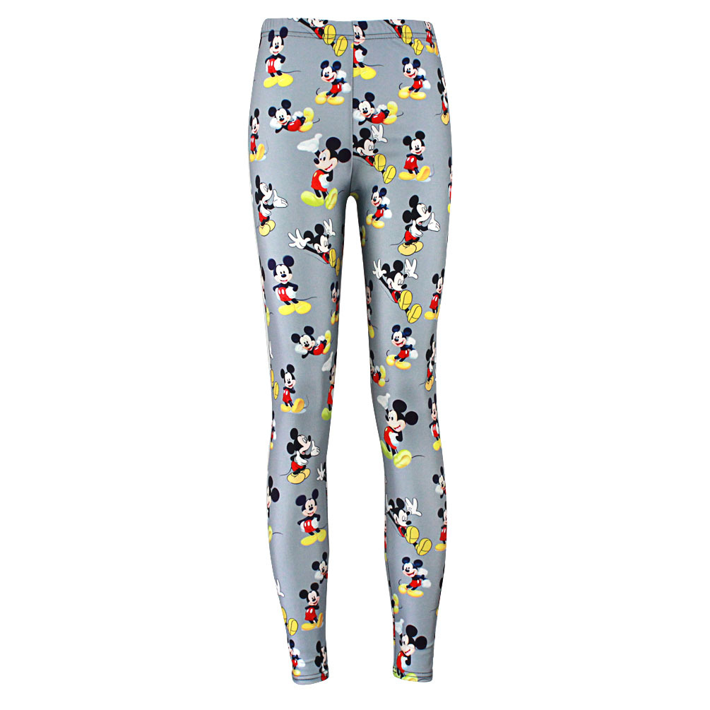 Women Fashion High Elasticity Leggings 2018 New Female Hip Hop Cartoon Mickey Mouse Print Slim Trousers Casual Pants Leggings