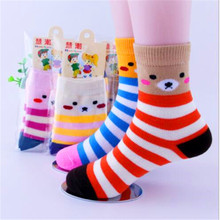 6 Pairs/Lot Cartoon Bear Baby Socks autumn and winter Children Sock Breathable Cotton Kid Socks For Boys Girls  Socks 1-12 Years 5 pairs lot new spring autumn cartoon stripe sock kids socks cotton baby girls boys socks 1 8 years old chaussette