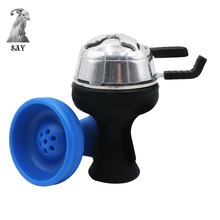 SY 1Set Silicone Shisha Hookah Bowl And Metal Kaloud Charcoal Holder Head With Double Handle Accessories
