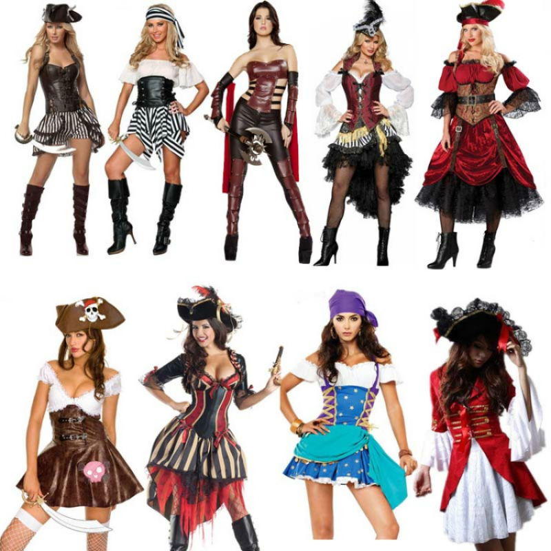 Anime Cosplay for Pirates of the Caribbean Women Dress Sult Sexy Jumpsuit Vestidos Costume for Adult in Halloween Carnaval Party