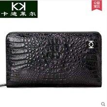 KADILER 2017 new hot free shipping Thai crocodile bag male  capacity male long zipper wallet leather clutches business men bag