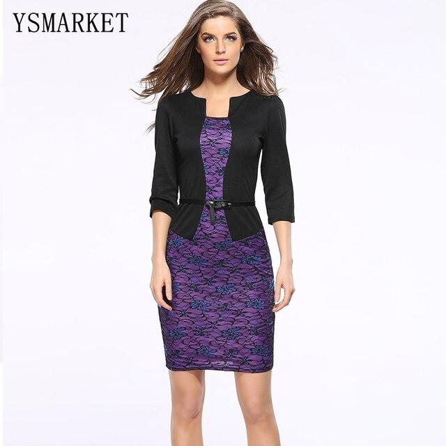 One Piece Faux Jacket Brief Elegant Pattern Work Dress Black Purple