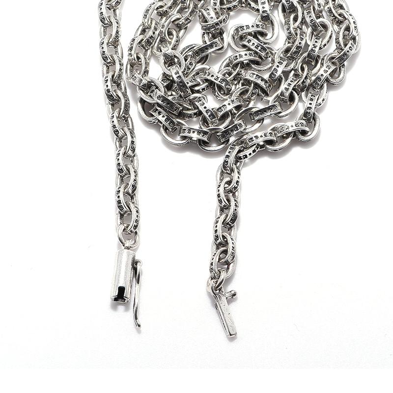 965df5a2909e Puro 925 joyas de plata colgante moda unisex Cadenas punk Collar ...