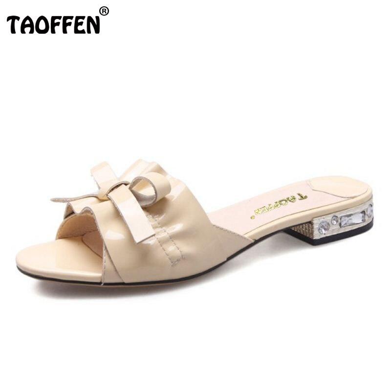 TAOFFEN Ladies Genuine Leather Flats Sandals Women Bowtie Ruffles Slipper Rhinestone Party Club Female Footwears Size 33-40 mnixuan  women slipper sandals genuine