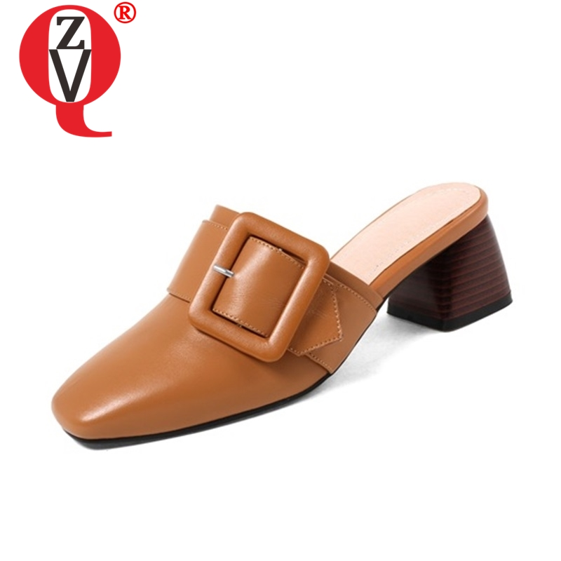 ZVQ hot sale spring summer fashion concise middle heel shoes 2019 new outside buckle open heel