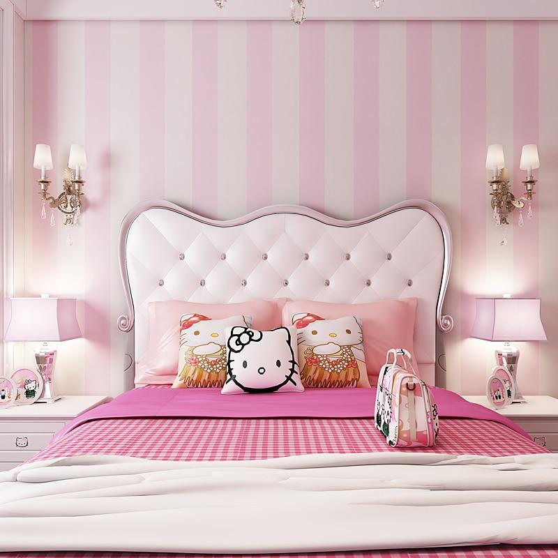 Modern pink wide striped non woven wallpaper children room - Pink and white striped wallpaper bedroom ...
