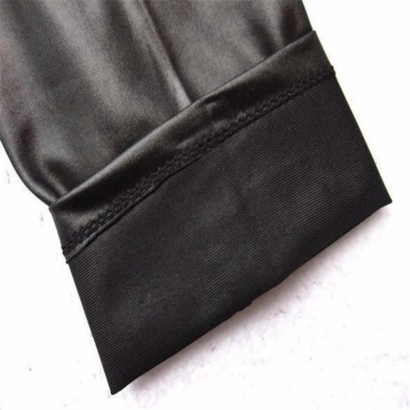 Женские брюки, сексуальные тонкие блестящие леггинсы из искусственной кожи для фитнеса