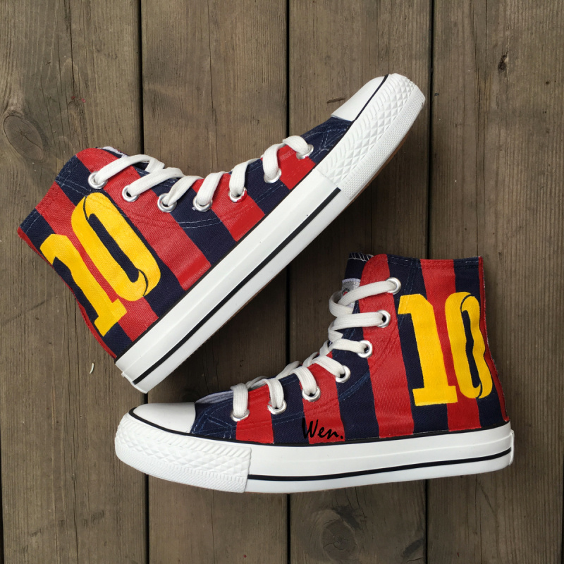 Wen Hand Painted Shoes for Men Women Design Custom Soccer Jersey Football Number 10 High Top Canvas Sneakers for Gifts wen unisex hand painted shoes custom design galloping horse men women s high top canvas shoes christmas gifts birthday gifts